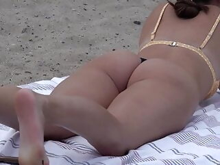 String bikini with booty out brunette tukif beach